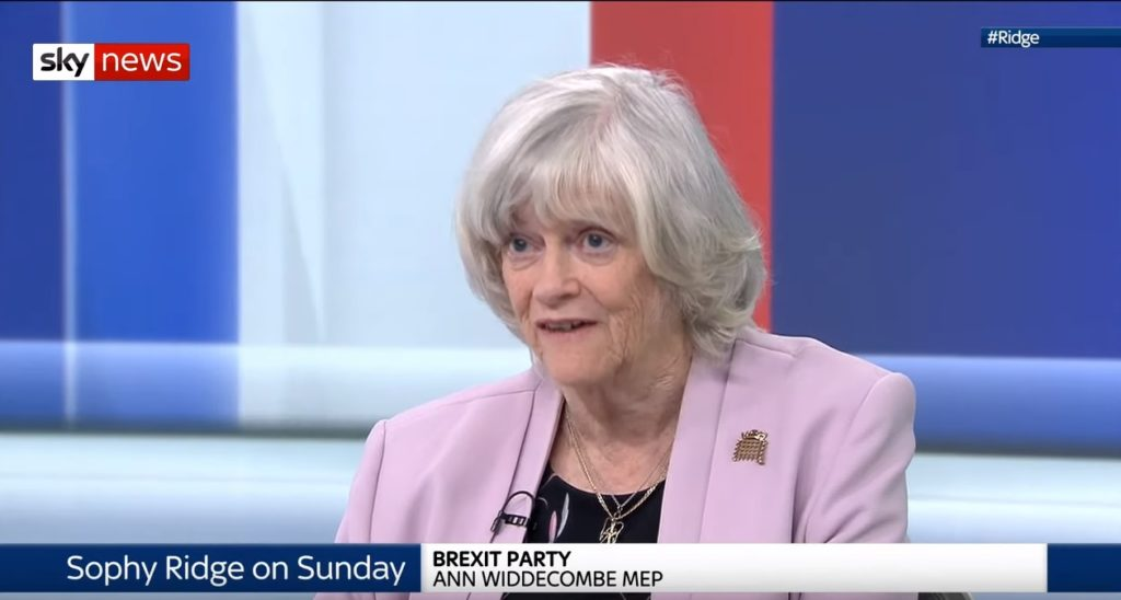 Ann Widdecombe was challenged over her views