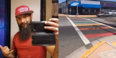 Anthony Morgan was arrested on suspicion of vandalising the Albuquerque rainbow crossing