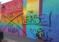 BeVisible Pride Wall in Houston, Texas with graffiti