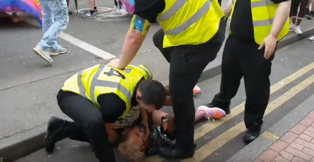 Ferhan Khan was wrestled to the ground by security at Birmingham Pride