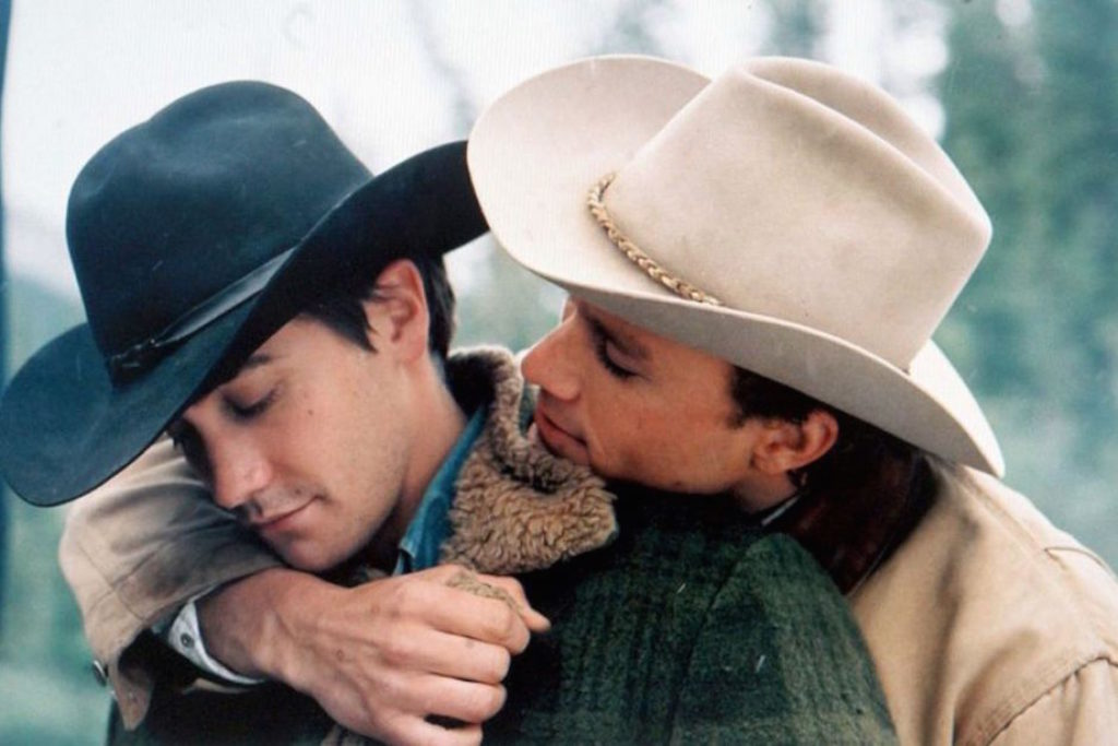 Heath Ledger holding Jake Gyllenhaal in Brokeback Mountain