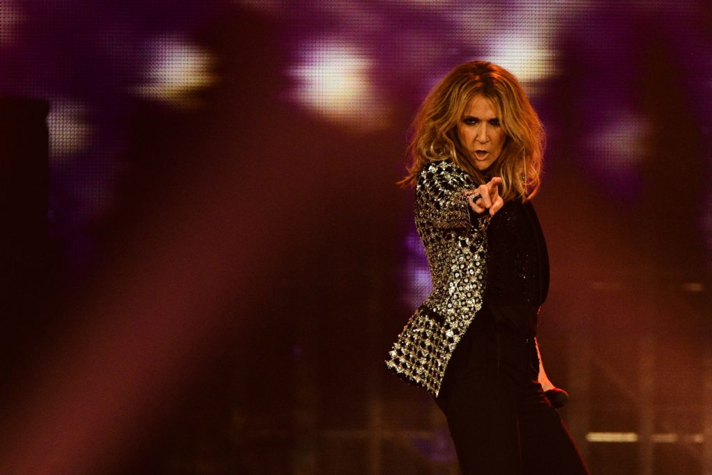 Canadian singer Celine Dion performs on the stage of the AccorHotels Arena