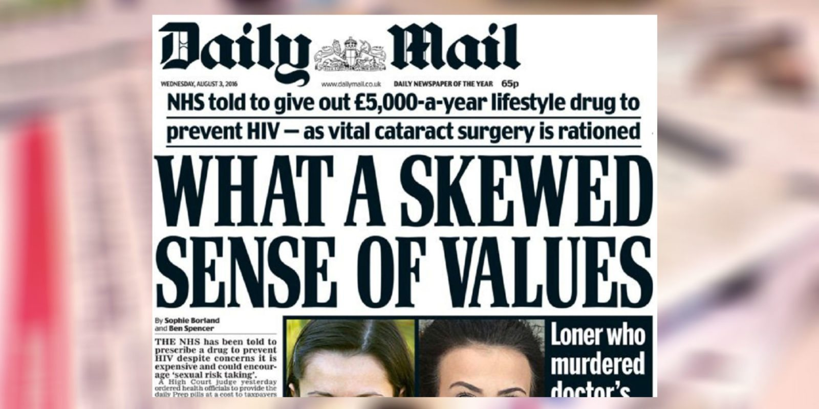 The Daily Mail ran a front-page story attacking PrEP