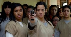 Daya Diaz with a gun in orange is the new black