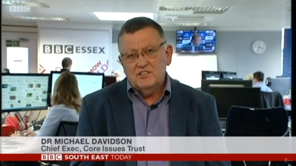 Mike Davidson, CEO of the Core Issues Trust, frequently appears in the media