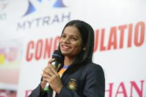 Dutee Chand speaks during a press conference in Hyderabad on September 1, 2018.. (NOAH SEELAM/AFP/Getty Images)