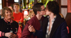 Eastenders character Ben and Paul share a kiss in a 2016 episode—they would have enjoyed a gay bar on Albert Square