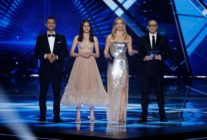 (L to R) Israel's television host Assi Azar, television presenter Lucy Ayoub, supermodel Bar Refaeli and television host Erez Tal. (JACK GUEZ/AFP/Getty Images)