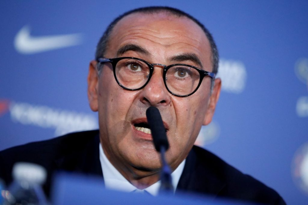 Chelsea's newly appointed manager, Maurizio Sarri, speaks during his unveiling press conference at Stamford Bridge in west London on July 18, 2018. - New Chelsea boss Maurizio Sarri has spoken of his excitement at facing many of the world's leading managers now that he in charge of a Premier League side. The Italian's arrival at Stamford Bridge, where he replaces compatriot Antonio Conte, sees him join a multi-national cast of managers in English football's top-flight, with Spain's Pep Guardiola in charge of champions Manchester City, Argentina's Mauricio Pochettino the manager of Tottenham Hotspur, Portugal's Jose Mourinho at the helm of Manchester United and Germany's Jurgen Klopp in control at Liverpool. (Photo by Tolga AKMEN / AFP) (Photo credit should read TOLGA AKMEN/AFP/Getty Images)