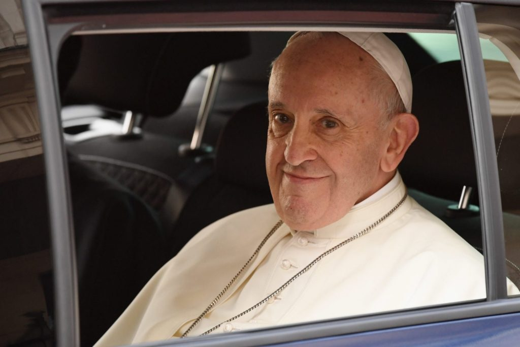 DUBLIN, IRELAND - AUGUST 25: Pope Francis leaves after meeting dignitaries at Dublin Castle on August 25, 2018 in Dublin, Ireland. Pope Francis is the 266th Catholic Pope and current sovereign of the Vatican. His visit, the first by a Pope since John Paul II's in 1979, is expected to attract hundreds of thousands of Catholics to a series of events in Dublin and Knock. During his visit he will have private meetings with victims of sexual abuse by Catholic clergy. (Photo by Jeff J Mitchell/Getty Images)