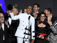 LOS ANGELES, CA - SEPTEMBER 17: RuPaul (C) and cast and crew accept the Outstanding Reality-Competition Program for 'RuPaul's Drag Race' onstage during the 70th Emmy Awards at Microsoft Theater on September 17, 2018 in Los Angeles, California. (Photo by Kevin Winter/Getty Images)