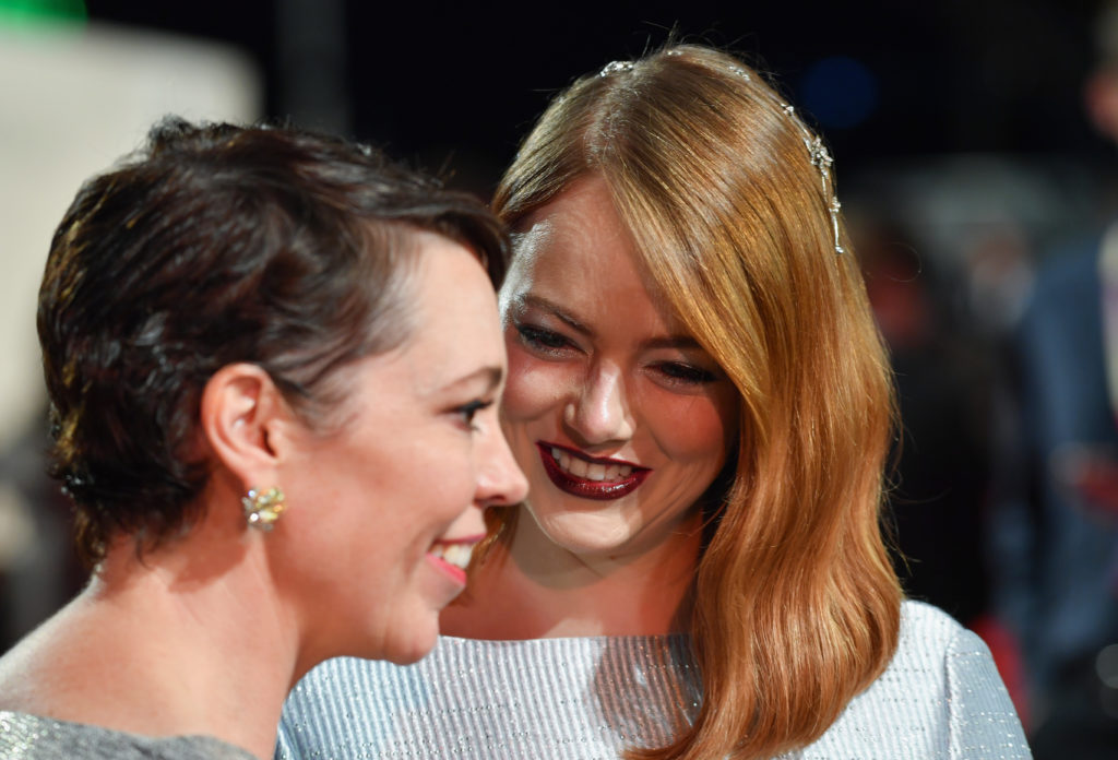 "Olivia Colman and Emma Stone attend the UK Premiere of ""The Favourite,"" the movie in which the two act in a sex scene."