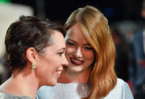 """Olivia Colman and Emma Stone attend the UK Premiere of """"The Favourite,"""" the movie in which the two act in a sex scene."""