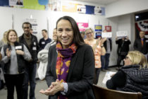 Sharice Davids, is greeted by supporters. (Whitney Curtis/Getty)