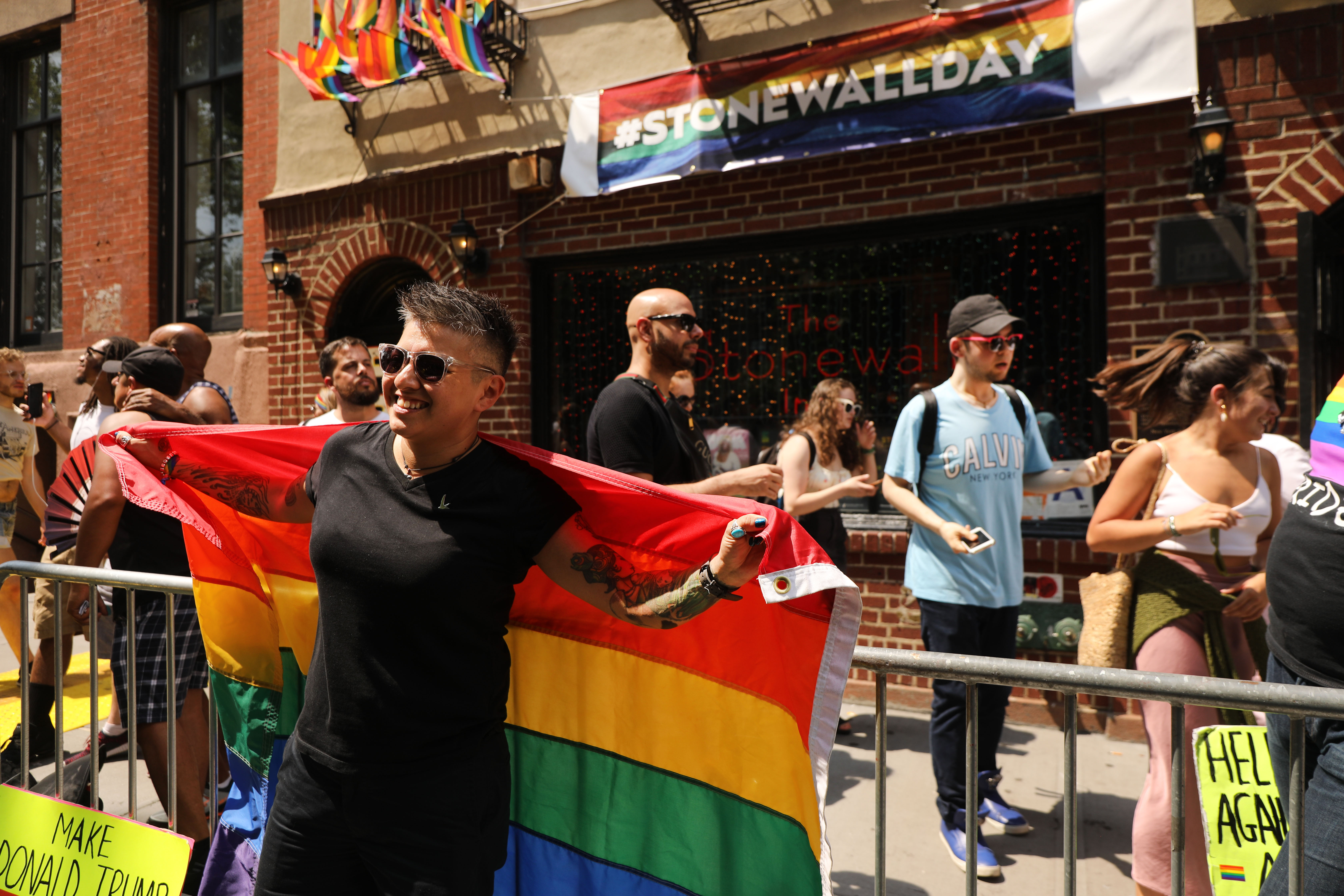 Activists and politicians spoke at the rally held outside the Stonewall Inn.