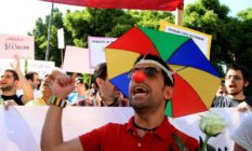 Lebanese demonstrators shout slogans during the Laique Pride III march, calling for equality amongst all Lebanese citizens in Beirut on May 6, 2012. The Laique Pride encourages and supports every movement and organization working towards a more egalitarian society and seeks to inspire new citizen initiatives in Lebanon. AFP PHOTO / ANWAR AMRO (Photo credit should read ANWAR AMRO/AFP/GettyImages)