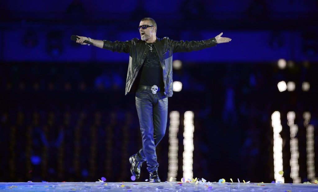 British singer George Michael performs during the closing ceremony of the 2012 London Olympic Games at the Olympic stadium in London on August 12, 2012. Rio de Janeiro will host the 2016 Olympic Games. AFP PHOTO/LEON NEAL (Photo credit should read LEON NEAL/AFP/GettyImages)