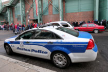 A Boston police car, where police arrested a teen over threats to Boston gay bars.
