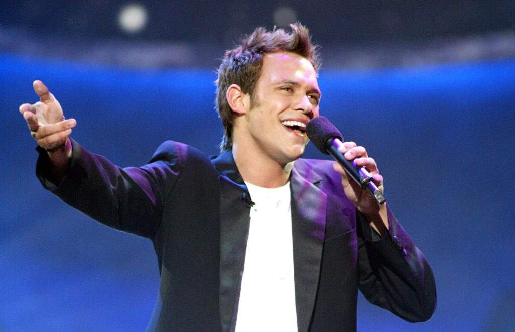 """British Idol winner and pop star Will Young performs at FOX-TV's """"American Idol"""" finals at the Kodak Theatre in Hollywood, Ca. Tuesday, Sept. 3, 2002. Photo by Kevin Winter/ImageDirect."""