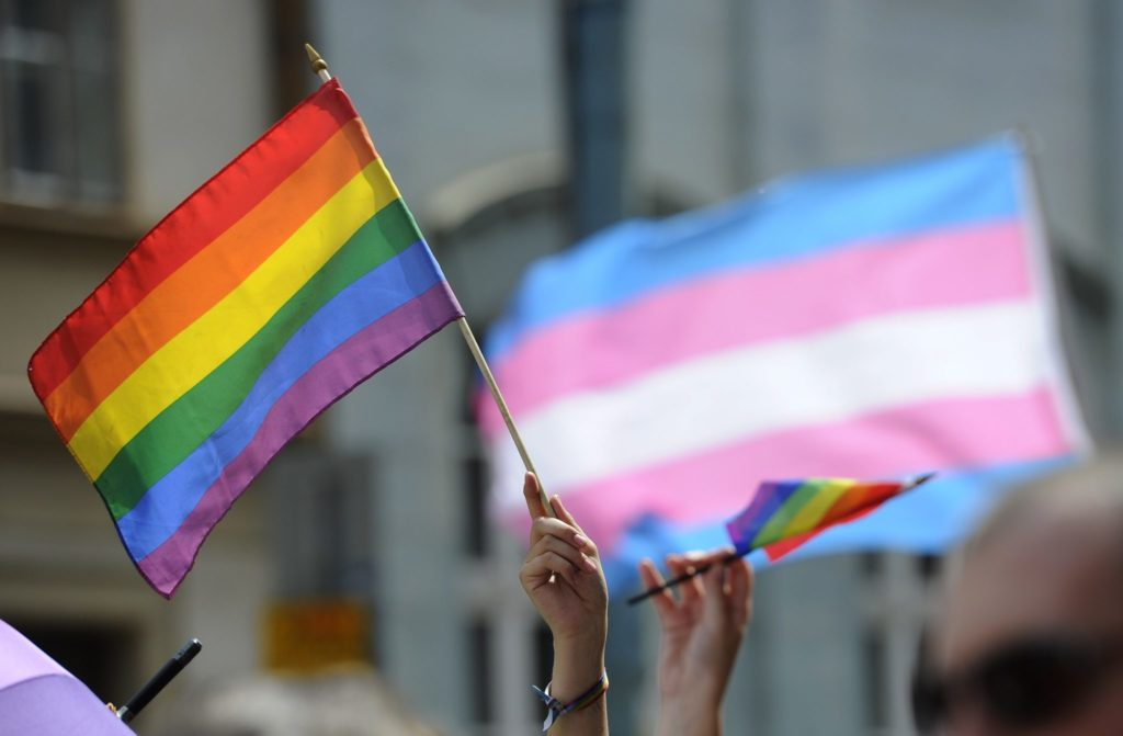 A transgender flag flies in the background during a Pride march (SAMUEL KUBANI/AFP/Getty Images)