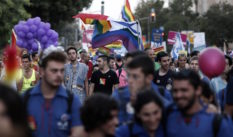 Israelis take part in the 12th anniversary Gay Pride parade in Jerusalem on September 18, 2014. (THOMAS COEX/AFP/Getty Images)