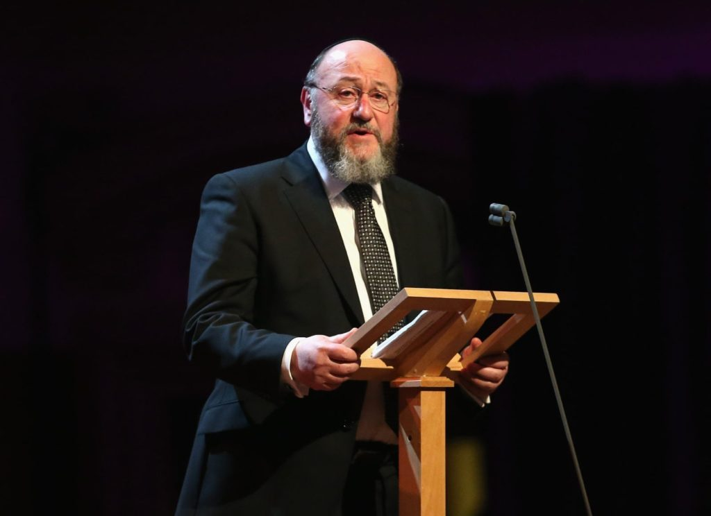 LONDON, ENGLAND - JANUARY 27: Chief Rabbi Ephraim Mirvis gives a speech as he attends a Holocaust Memorial Day Ceremony at Central Hall Westminster on January 27, 2015 in London, England. (Photo by Chris Jackson/WPA Pool/Getty Images)