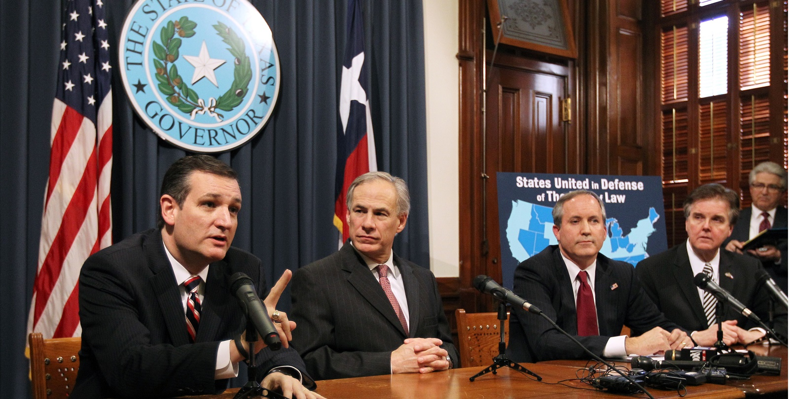 Ken Paxton, far right, with Senator Ted Cruz and lieutenant governor Dan Patrick