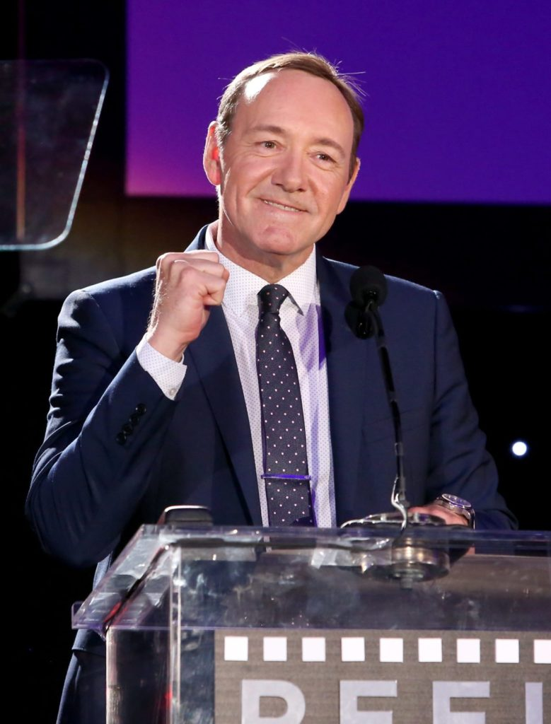 """HOLLYWOOD, CA - APRIL 25: Honoree Kevin Spacey speaks onstage during the 4th Annual """"Reel Stories, Real Lives"""", benefiting the Motion Picture & Television Fund at Milk Studios on April 25, 2015 in Hollywood, California. (Photo by Jesse Grant/Getty Images for Motion Picture & Television Fund)"""