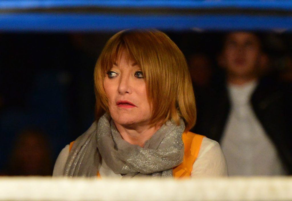 GLASGOW, SCOTLAND MAY 23 : Fight promoter Kellie Maloney watches on as Gary Cornish of Scotland takes on Zoltan Csala of Hungary during the IBO intercontinental championship match up at Glasgow?s Bellahouston Leisure Centre on May 23, 2015 in Glasgow, Scotland. (Photo by Mark Runnacles/Getty Images)