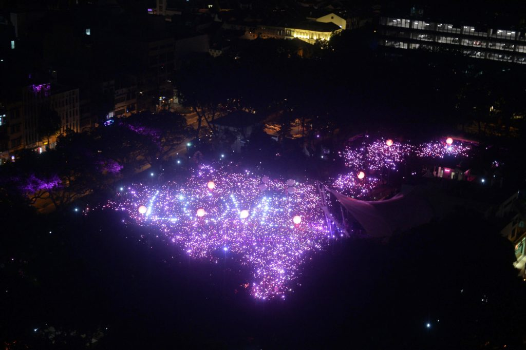 Picture from a light display from the Pink Dot festival, Singapore'annual celebration of LGBT+ rights such as that of the gay man who won a child adoption case.