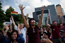 "People dance as they attend a 'Pink Dot' event in Hong Kong on September 20, 2015. The LGBTI (lesbian, gay, bisexual, transgender/transsexual and intersex) event in its second year celebrated diversity under the theme ""Love Is Love"" and attracted some 15,000 visitors. AFP PHOTO / DALE DE LA REY (Photo credit should read DALE de la REY/AFP/Getty Images)"