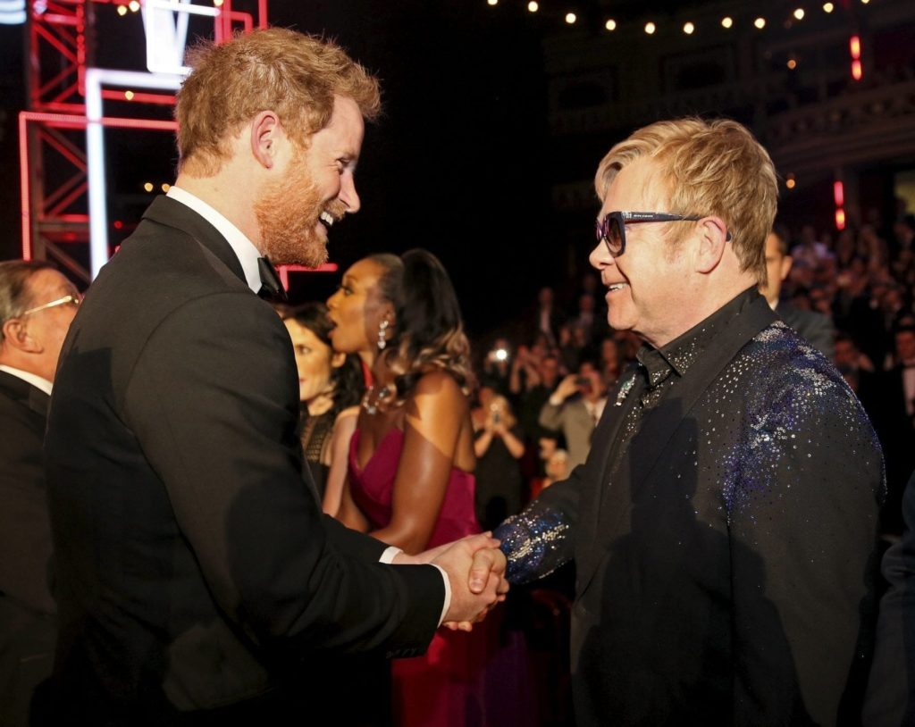LONDON, ENGLAND - NOVEMBER 13: Britain's Prince Harry greets Elton John after the Royal Variety Performance at the Albert Hall on November 13, 2015 in London, England. (Photo by Paul Hackett - WPA Pool/Getty Images)