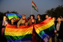 Activists are seen celebrating after India's Supreme Court agreed to lift a ban on same-sex relations.