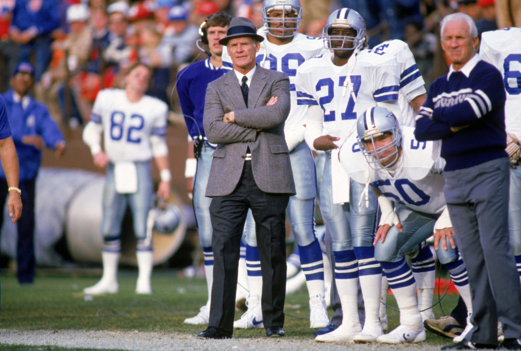 Jeff Rohrer, wearing the n. 50 jersey, watches his Dallas Cowboy teammates play in 1988.