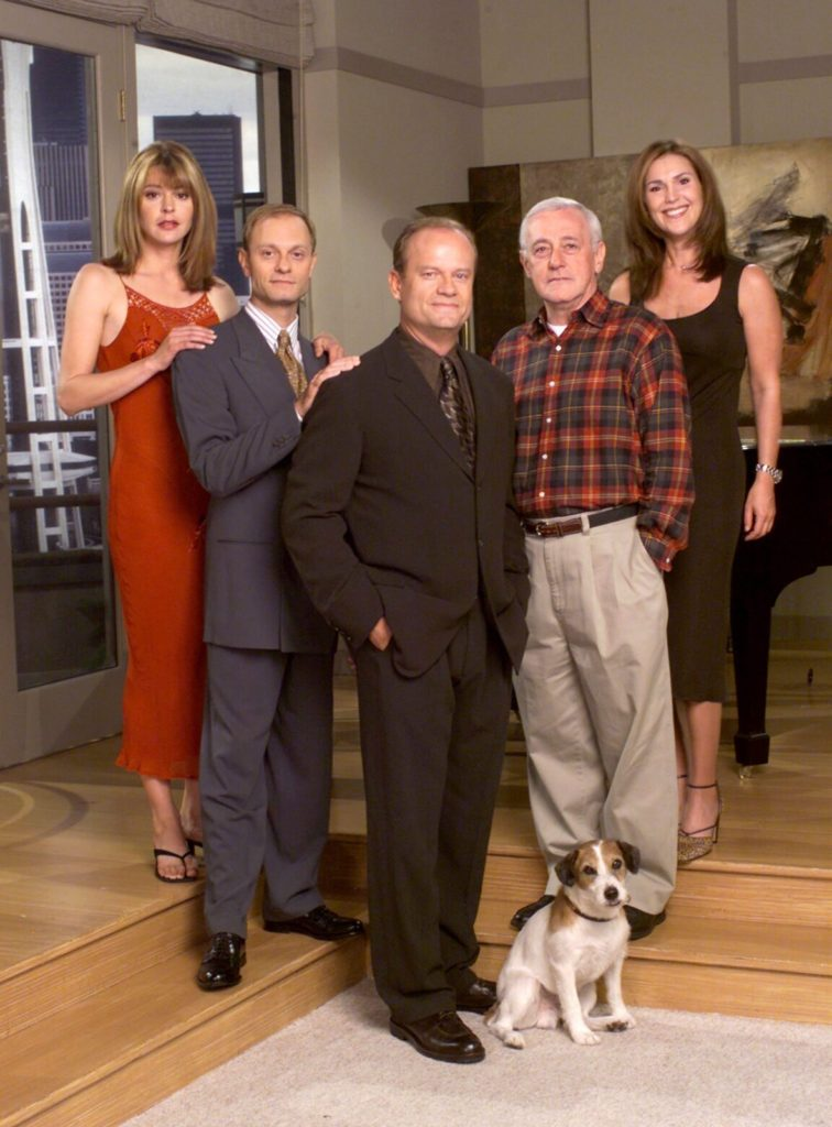 """385849 12: Cast Members Of Nbc Television Comedy Series """"Frasier"""" Pictured: (L-R) Jane Leeves As Daphne Moon, David Hyde Pierce As Dr. Niles Crane, Kelsey Grammer As Dr. Frasier Crane, John Mahoney As Martin Crane, And Peri Gilpin As Roz Doyle. (Photo By Getty Images)"""