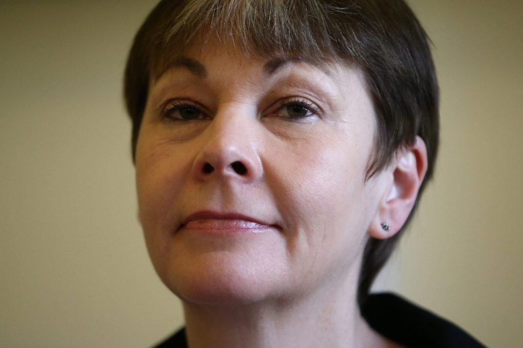 LONDON, ENGLAND - MARCH 14: Green Party Member of Parliament for Brighton Pavilion, Caroline Lucas, attends the launch of her party's EU campaign on March 14, 2016 in London, England. The Green Party today announced their intention to campaign for Britain to stay in the European Union. (Photo by Carl Court/Getty Images)