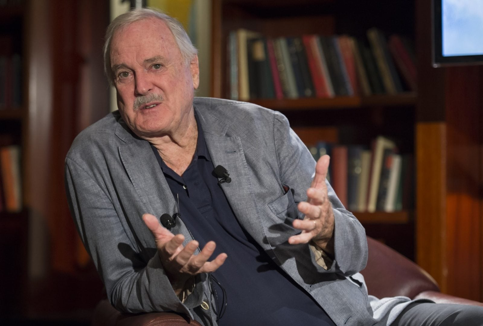 MELBOURNE, AUSTRALIA - MARCH 21: In this handout photo, Fawlty Towers creator and co-writer, John Cleese, introduced the media to Stephen Hall, who will play the role of Basil Fawlty and Blazey Best as Sybil Fawlty in the world premiere tour of Fawlty Towers-Live on stage at Park Hyatt Hotel on March 21, 2016 in Melbourne, Australia. Details of the full cast will be announced soon. (Photo by James Morgan/Getty Images)