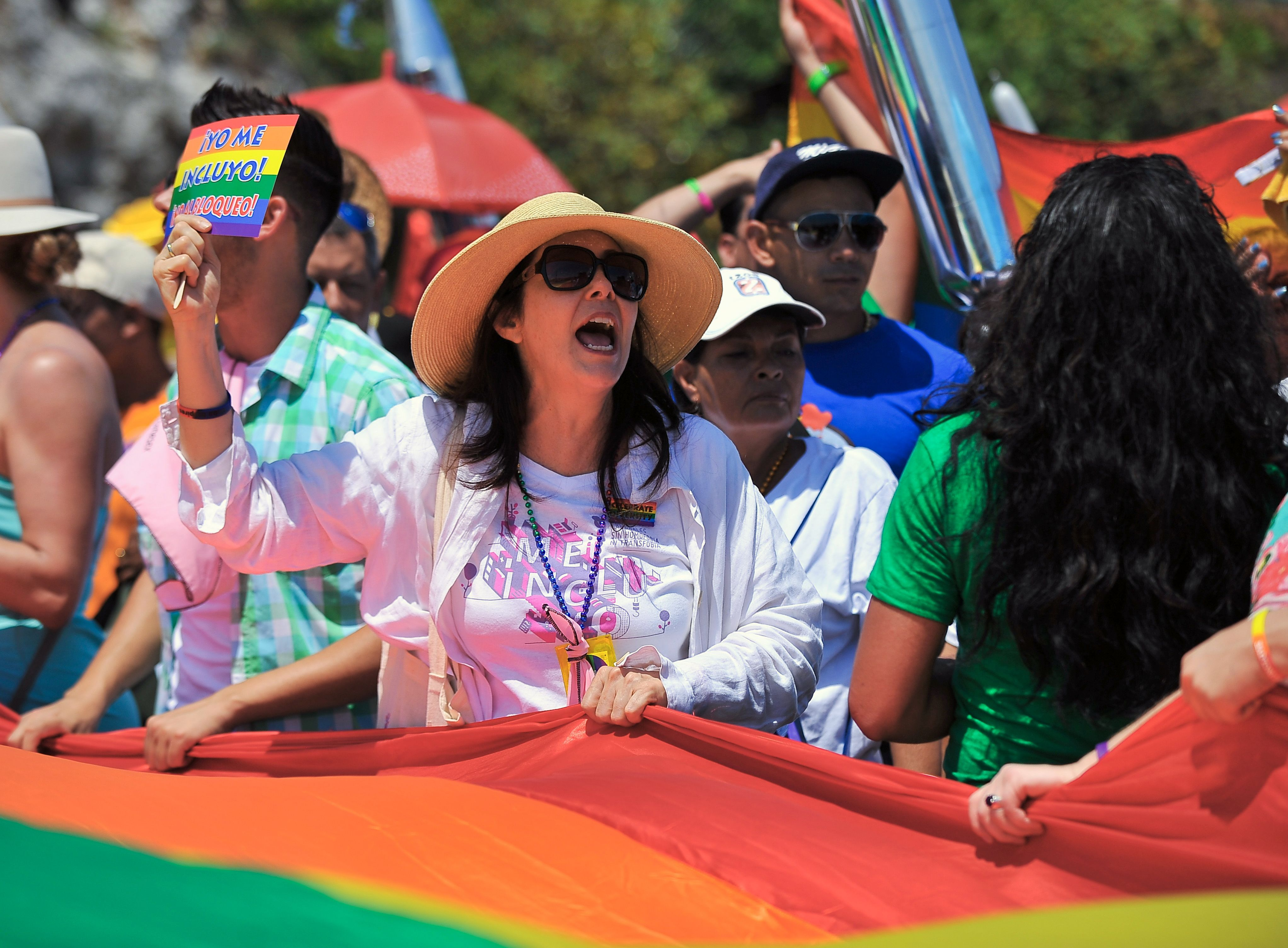 Mariela Castro, daughter of President Raul Castro who had supported opening the door to gay marriage in Cuba, participates in a march against homophobia on May 14, 2016 in Havana, Cuba.