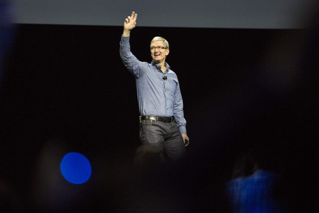 SAN FRANCISCO, CA - JUNE 13: Apple CEO Tim Cook speaks at an Apple event at the Worldwide Developer's Conference on June 13, 2016 in San Francisco, California. Thousands of people have shown up to hear about Apple's latest updates. (Photo by Andrew Burton/Getty Images)