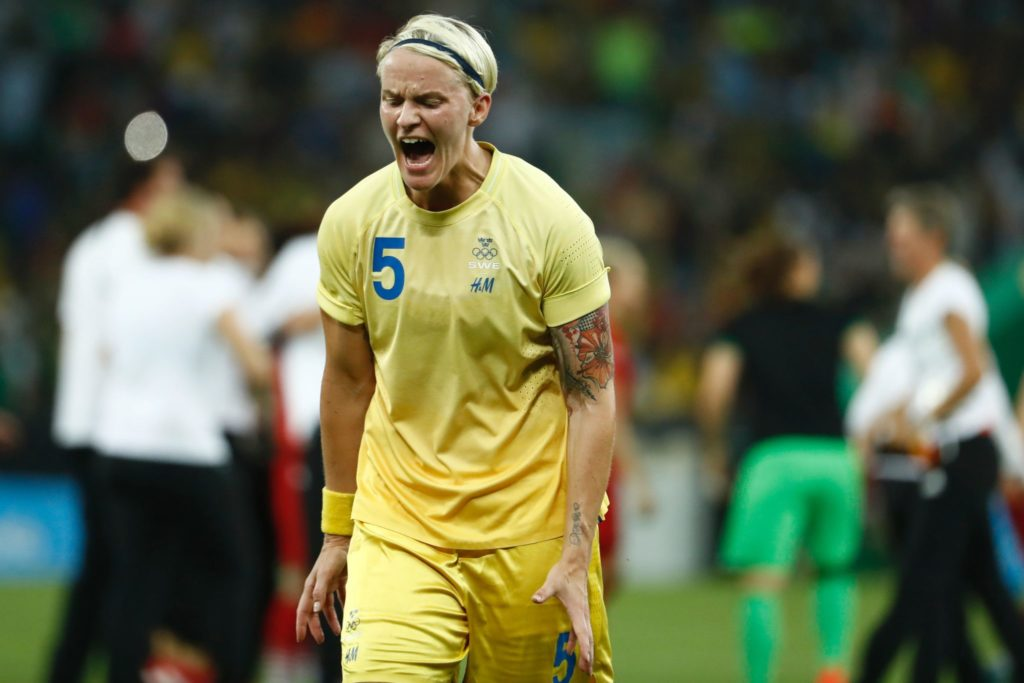 Sweden's defender Nilla Fischer reacts after losing to Germany in the Rio 2016 Olympic Games women's football Gold medal match at the Maracana stadium in Rio de Janeiro, Brazil, on August 19, 2016. / AFP / Odd Andersen (Photo credit should read ODD ANDERSEN/AFP/Getty Images)