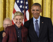 US President Barack Obama presents actress and comedian Ellen DeGeneres with the Presidential Medal of Freedom, the nation's highest civilian honor, during a ceremony honoring 21 recipients, in the East Room of the White House in Washington, DC, November 22, 2016.