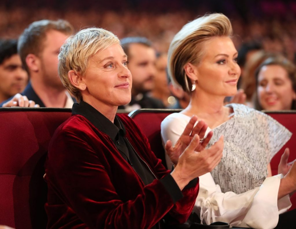 LOS ANGELES, CA - JANUARY 18: TV personality/actress Ellen DeGeneres (L) and actress Portia de Rossi attend the People's Choice Awards 2017 at Microsoft Theater on January 18, 2017 in Los Angeles, California. (Photo by Christopher Polk/Getty Images for People's Choice Awards)