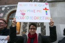 a protester outside the church of england general synod