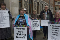Members of the LGBT community stage a peaceful protest against the church of England in 2017 in London, England.