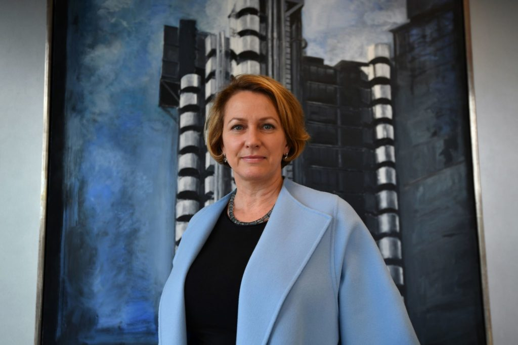 Lloyds of London Chief Executive Officer, Inga Beale poses for a photograph in her office in the City of London on March 30, 2017, following an interview with AFP. Lloyd's of London will open a Brussels subsidiary in early 2019, the historic insurance market said Thursday, the first company to respond to Britain's decision to trigger Brexit. Lloyd's, which employs 700 people in the British capital, will start work at the Brussels office from January 1, 2019. / AFP PHOTO / BEN STANSALL (Photo credit should read BEN STANSALL/AFP/Getty Images)