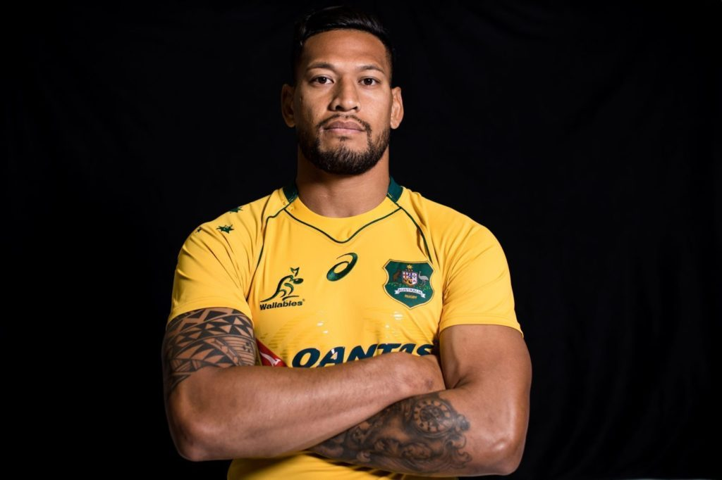 SYDNEY, NEW SOUTH WALES - MAY 15: Israel Folau poses during an Australian Wallabies headshots session at Fox Sports on May 15, 2017 in Sydney, Australia. (Photo by Mark Kolbe/Getty Images)