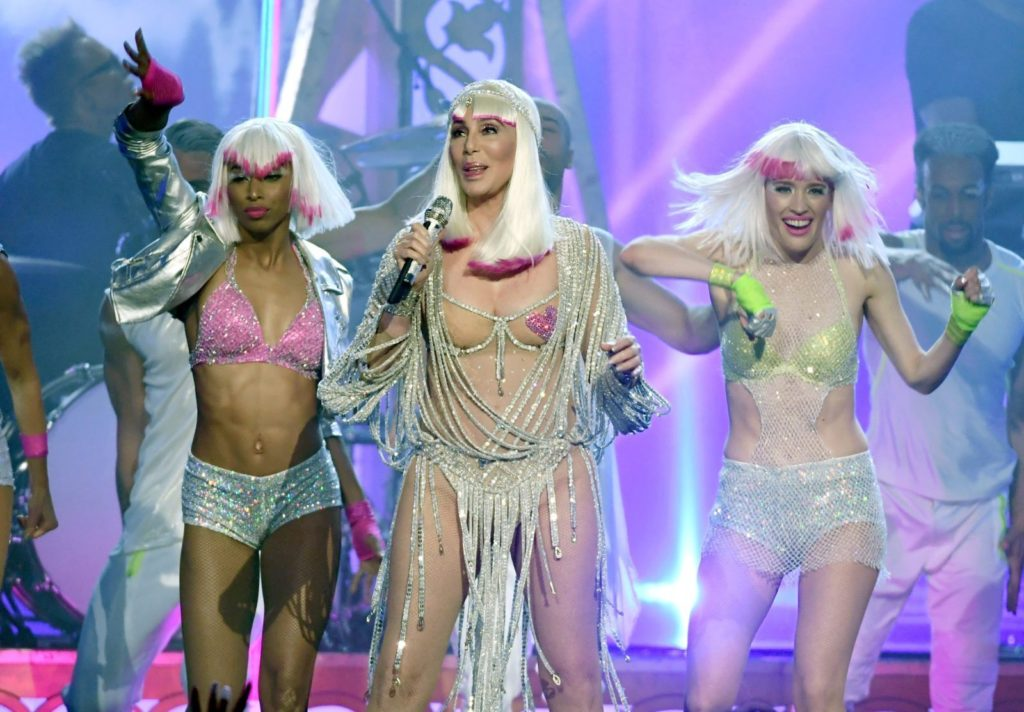 LAS VEGAS, NV - MAY 21: Actress/singer Cher (C) performs with dancers during the 2017 Billboard Music Awards at T-Mobile Arena on May 21, 2017 in Las Vegas, Nevada. (Photo by Ethan Miller/Getty Images)