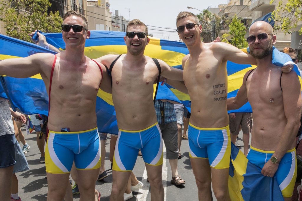 Swedish men take part in the annual Gay Pride parade in the Israeli city of Tel Aviv, on June 9, 2017. Tens of thousands of revellers from Israel and abroad packed the streets of Tel Aviv for the city's annual Gay Pride march, billed as the Middle East's biggest. / AFP PHOTO / JACK GUEZ (Photo credit should read JACK GUEZ/AFP/Getty Images)