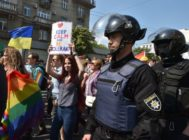 Police protect Kyiv Pride marchers during 2017 Pride