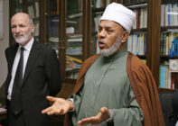 AUSTRALIA, Sydney : Sheik Taj Aldin al-Hilali (R), the Mufti of Australia, with Ian Ewing (L), the New South Wales regional director for the Australian Bureau of Statistics, speaks at a press conference concerning Australia's Census night in Sydney, 31 July 2006. The Mufti urged Muslims in Australia to stand up and be counted during the 15th national Census of population and housing to be conducted across Australia on the night of 08 August. AFP PHOTO/Greg WOOD